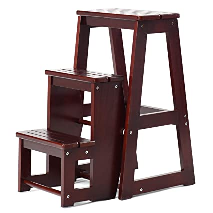 Astounding Costzon Folding Step Stool 3 Tier Wood Ladder 3 In 1 Design With Ladder Stool And Storage Shelf Multifunction Pine Wood Foldable Ladder For Home Theyellowbook Wood Chair Design Ideas Theyellowbookinfo