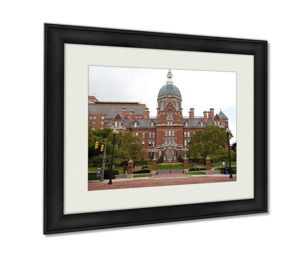 Ashley Framed Prints Johns Hopkins Hospital Wall Art Decor Giclee Photo Print In Black Wood Frame, Soft White Matte, Ready to hang 16x20 art
