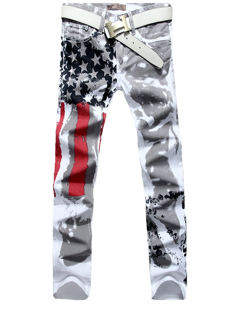 Vogstyle Men's Printed Distressed Ripped Long Straight Slim Fit Skinny Jeans Pants Style 1-White-32