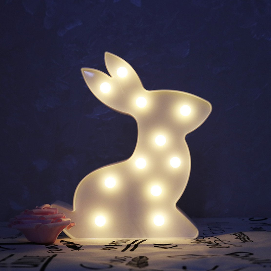 Easter Gift,Decorative Bunny Sign Light,LED Rabbit Shaped Sign-Art Marquee Signs-Nursery Night Lamp Gift-Wall Decor Lighs for Birthday Party,Kids Room, Living Room(White)