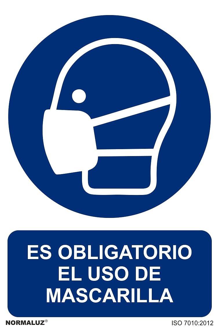 Normaluz RD21026 - Señal Es Obligatorio El Uso de Mascarilla PVC Glasspack 0.7mm 30x40 cm