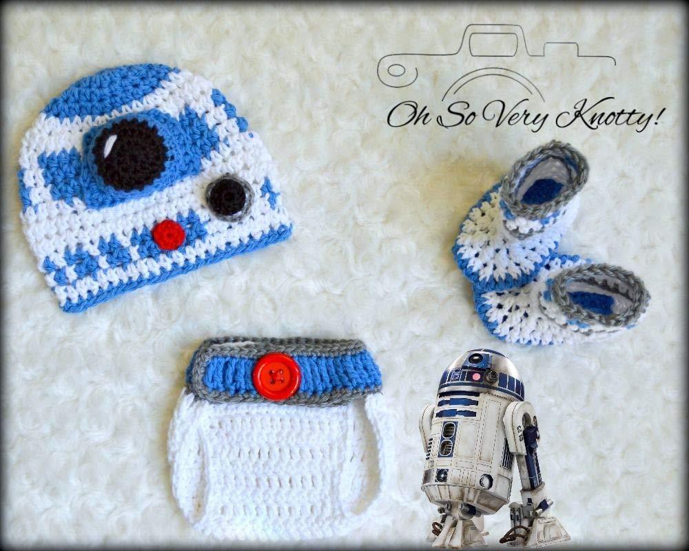 Amazon 3 6 M Baby R2d2 Crochet Hat Booties Diaper Cover