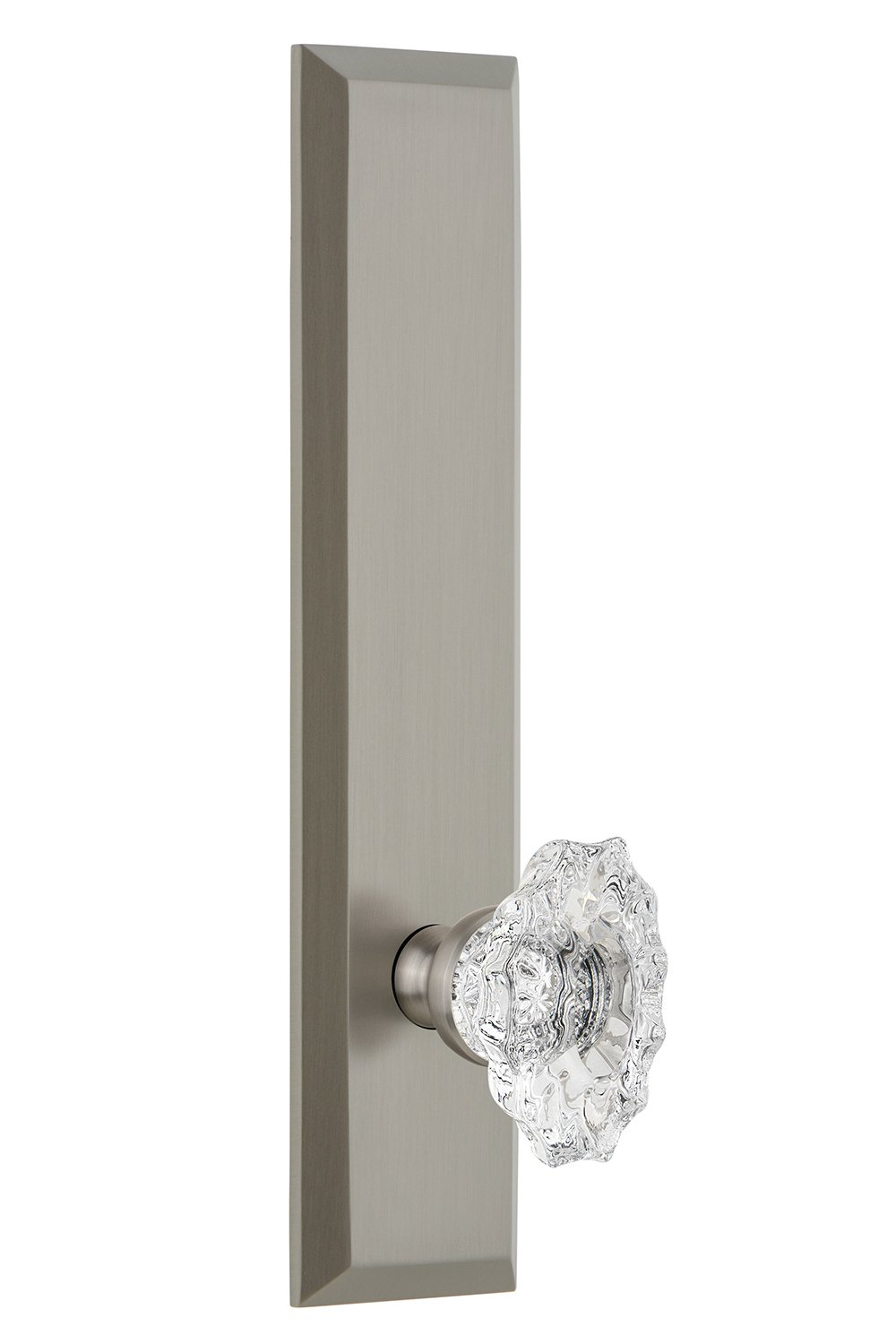 Backset Size-2.75 Right-Handed Grandeur 815428 Hardware Fifth Avenue Tall Plate Privacy with Biarritz Knob in Antique Pewter