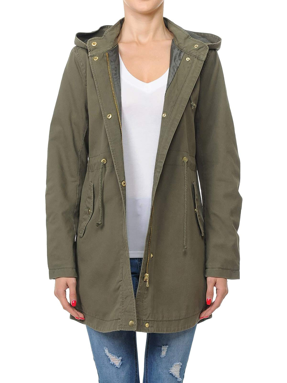 Instar Mode Women's Trendy Cotton Oversized Hooded Anorak Jacket Olive L