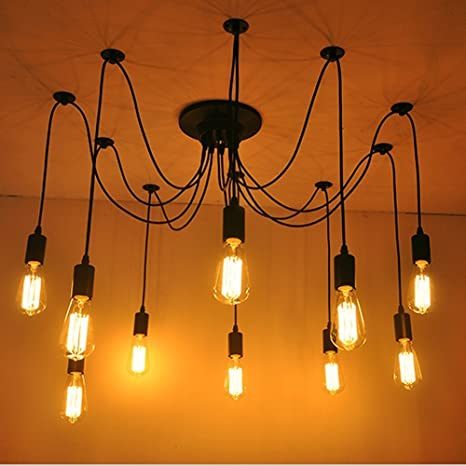 Awon AW168293 10 Lights Ajustable DIY Ceiling Spider Lamp Pendant Lighting  Chandelier, Industrial Vintage Edison
