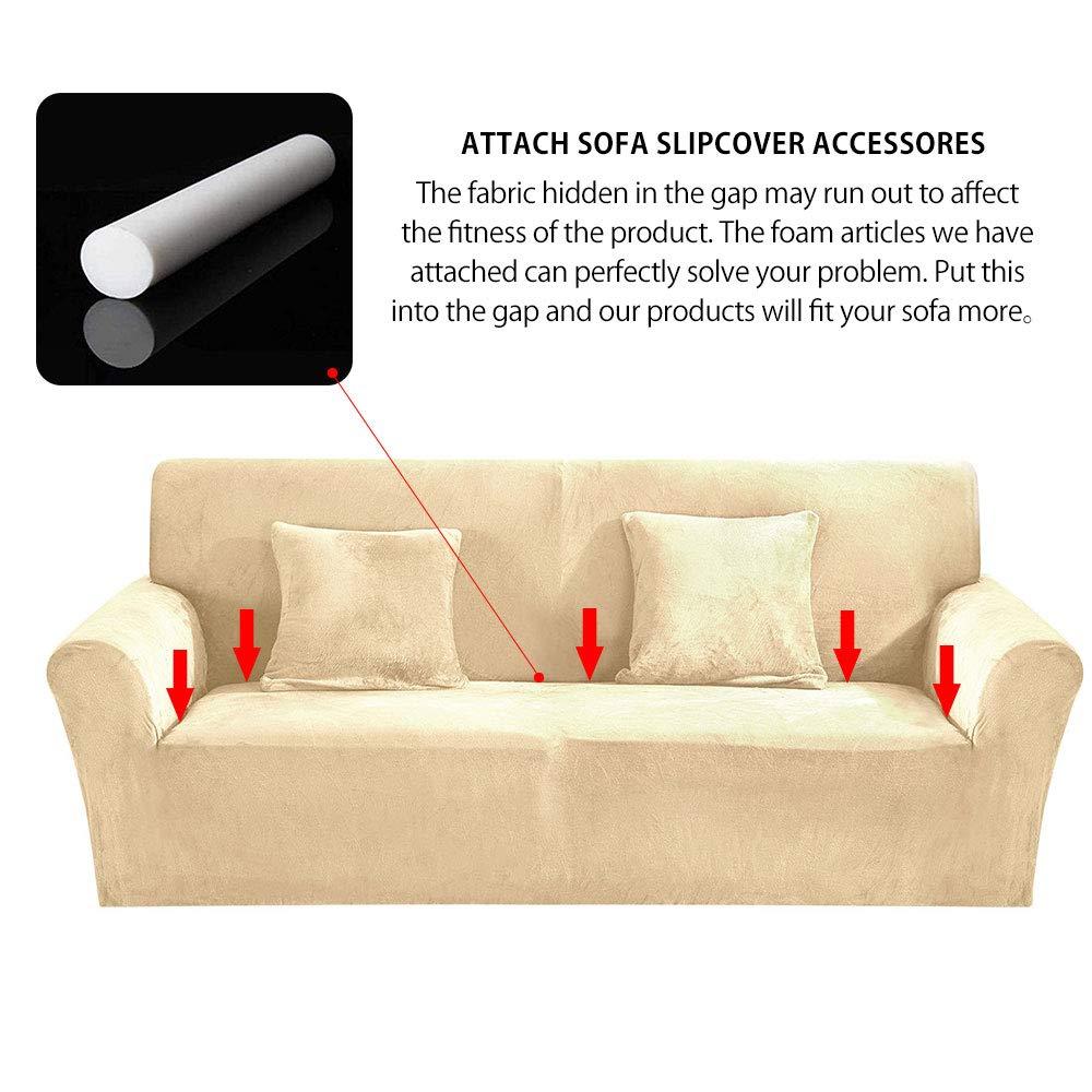 SurfMall Funda de sillón Cubierta de Sofa Elastica Material Terciopelo Grueso poliéster y Spandex Fundas de sofá Suave Resistente (Beige, 2 plazas)