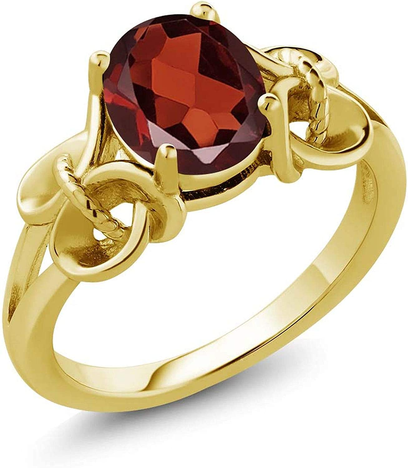 Gem Stone King 1.80 Ct Oval Red Garnet 18K Yellow Gold Plated Silver Women Engagement Ring (Available 5,6,7,8,9)