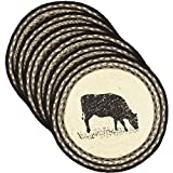 VHC Brands 34285 Classic Country Farmhouse Tabletop & Kitchen-Sawyer Mill White Round Jute Tablemat Set of 6, One Size, Cow