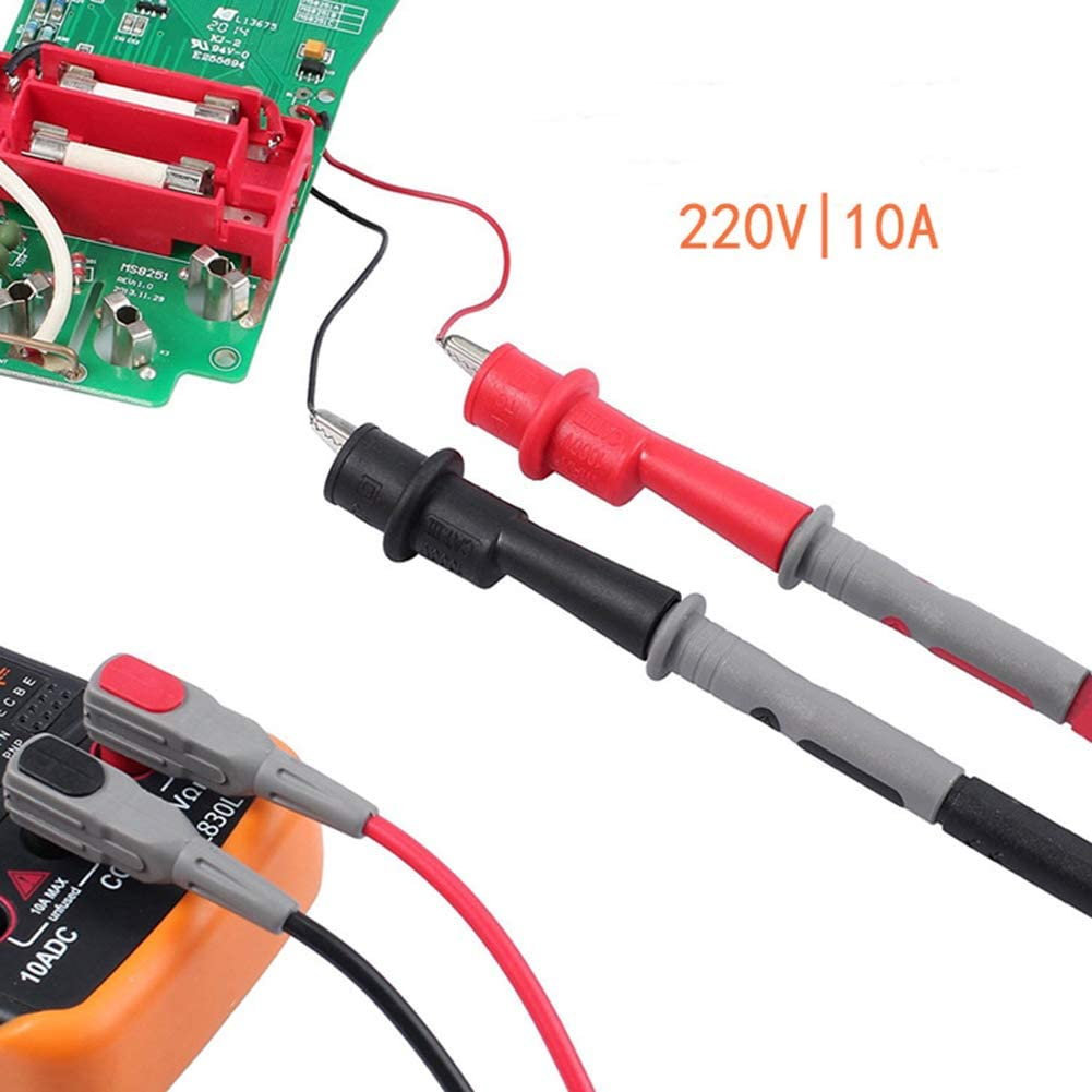 RENNICOCO Multimeter Electronic Test Leads Accessories Kit with Test Extension Alligator Clips Test Probe and Plunger Mini-hooks for Multimeters Clamp Meters