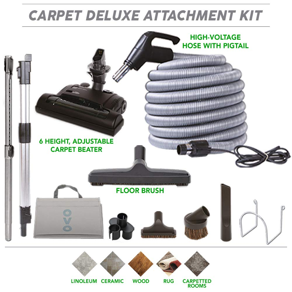 Ovo Vacuum Attachment Kit With Adjustable Height Electric Carpet Head Brush Set Including 30ft Central Vac Dual Votage Switch Control Hose, Black and grey