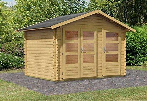 Karibu Woodfeeling Gartenhaus Kadur 28 mm 2-Raum-Haus Außenmaß (B x T): 327 x 247 cm Dachstand (B x T): 366 x 289 cm Wandstärke: 28 mm umbauter Raum: 15,9 cbm Bauweise: Blockbohlenbauweise Ausführung: naturbelassen