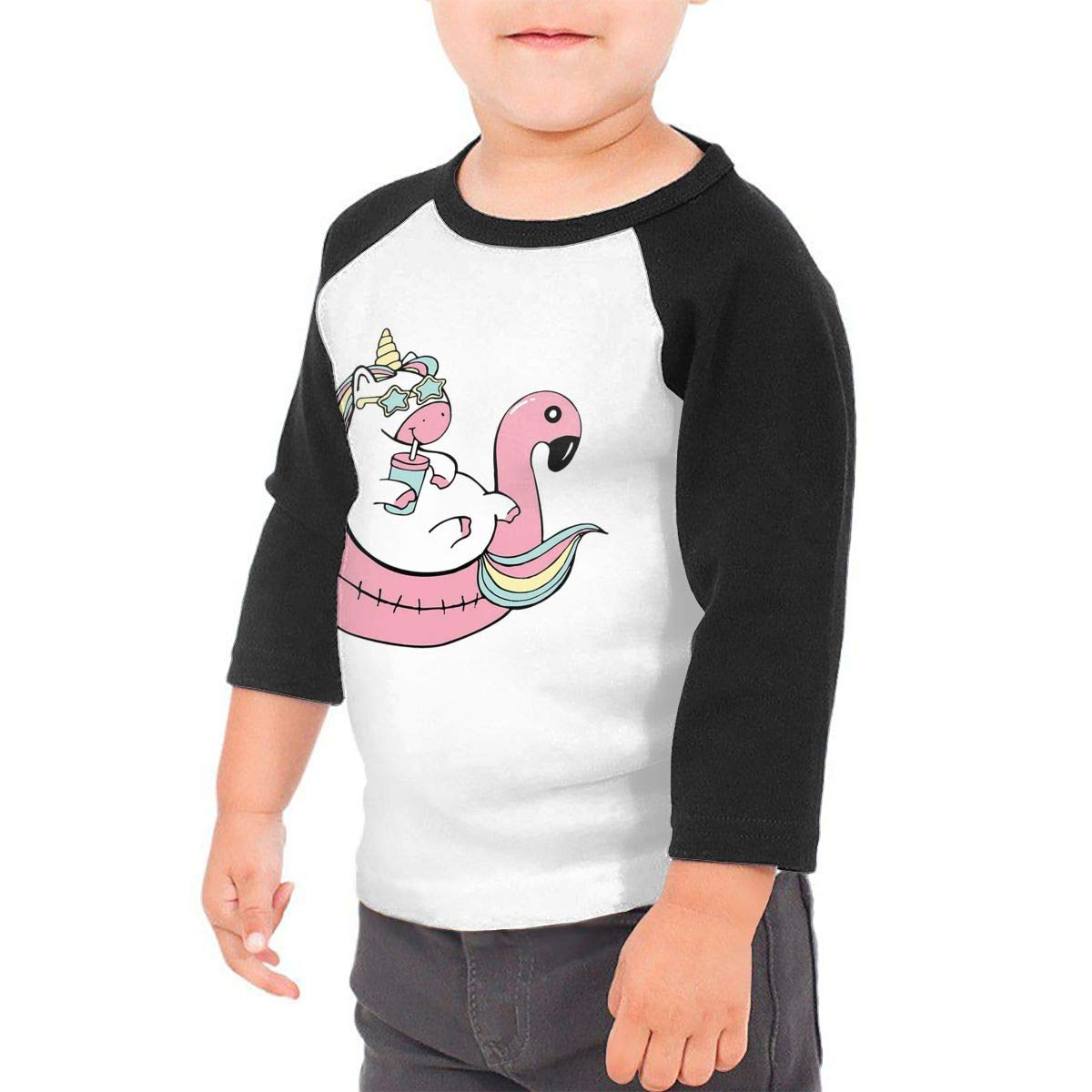 Unicorn Flamingo Float Unisex Toddler Baseball Jersey Contrast 3//4 Sleeves Tee