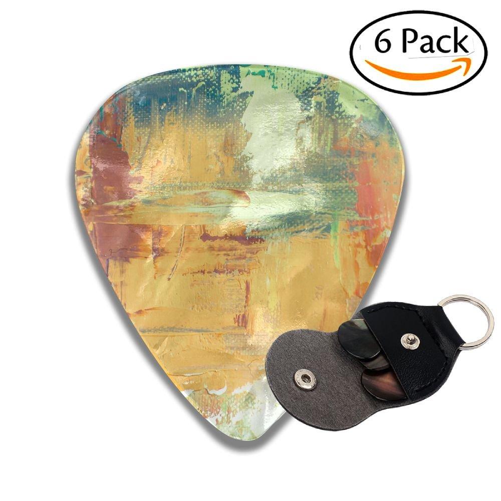 WXf Hand Drawn油彩画抽象アート背景の油彩画キャンバスカラーテクスチャフラグメントスタイリッシュなセルロイドギターピックPlectrums for Guitar Bass 6パック .46mm ブラック Wxf-BP-29400152 .46mm ホワイト B07CGQCRWL