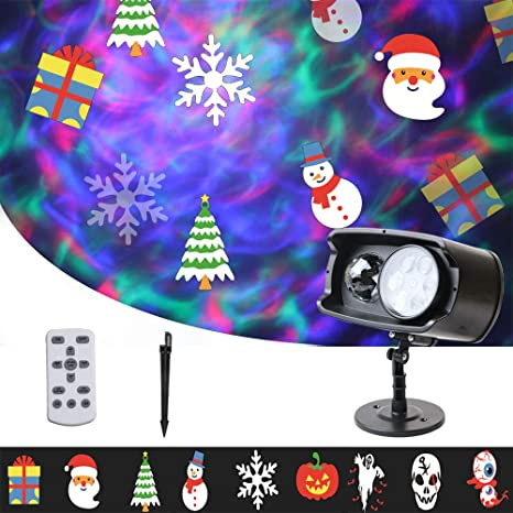 Holiday Halloween /& Christmas Outdoor LED Laser Movie Slide Projector 12 Modes