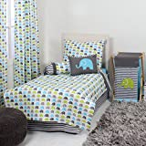 Bacati Elephants 4-Piece Toddler Bedding Set, Aqua/Lime/Grey