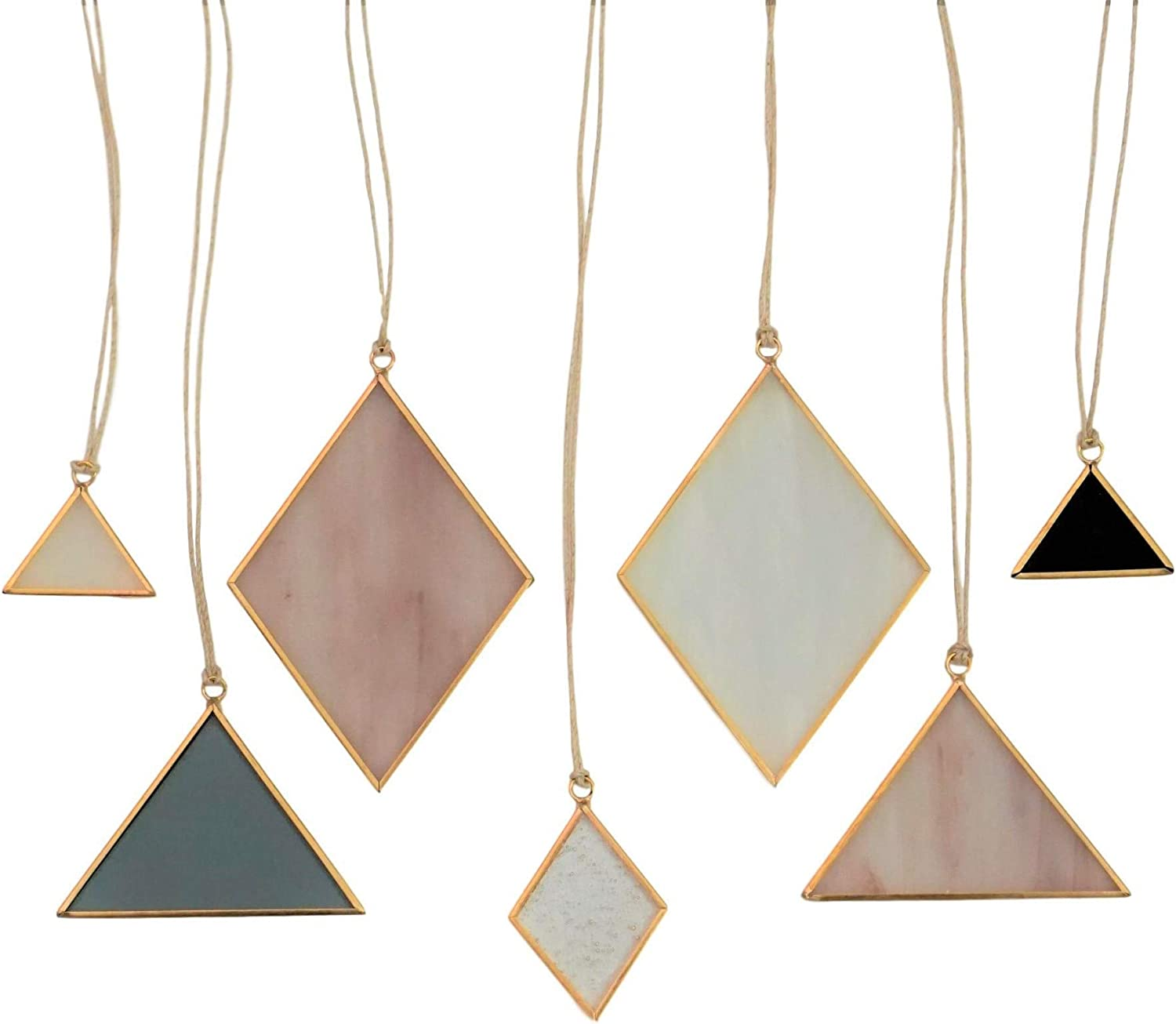 Sensory4u Stained Glass Suncatchers Window Hanging Wall Art Element Earth Tones Modern Design - 7 Piece Set