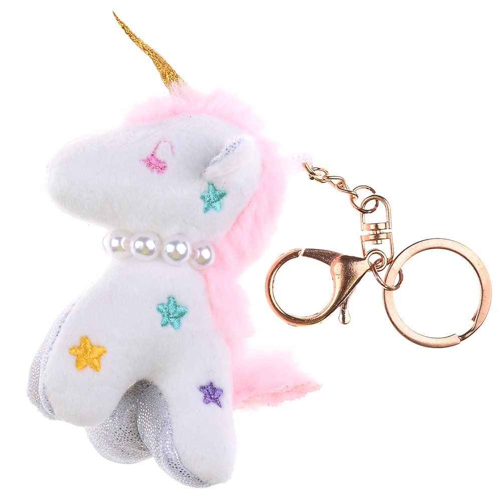 JUNKE Lucky Cute Soft Plush Unicorn Stuffed Animal Pendant Keychain Purse Bag Car Keys Keyring Hanging Charm Decor Accessory Best Toy Gift