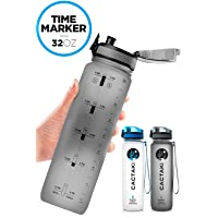 Cactaki 32oz Water Bottle with Time Marker, BPA Free Water Bottle, Non-Toxic, Leakproof...