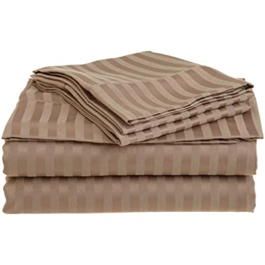 4 PC Cotton Sheets Set, 600 Thread Count 100% Egyptian Cotton, 22 Inch deep Pocket of Fitted Sheet, Long-Staple Combed Cotton Best-Bedding Sheets for Bed, Taupe Stripe, Cal King Size.