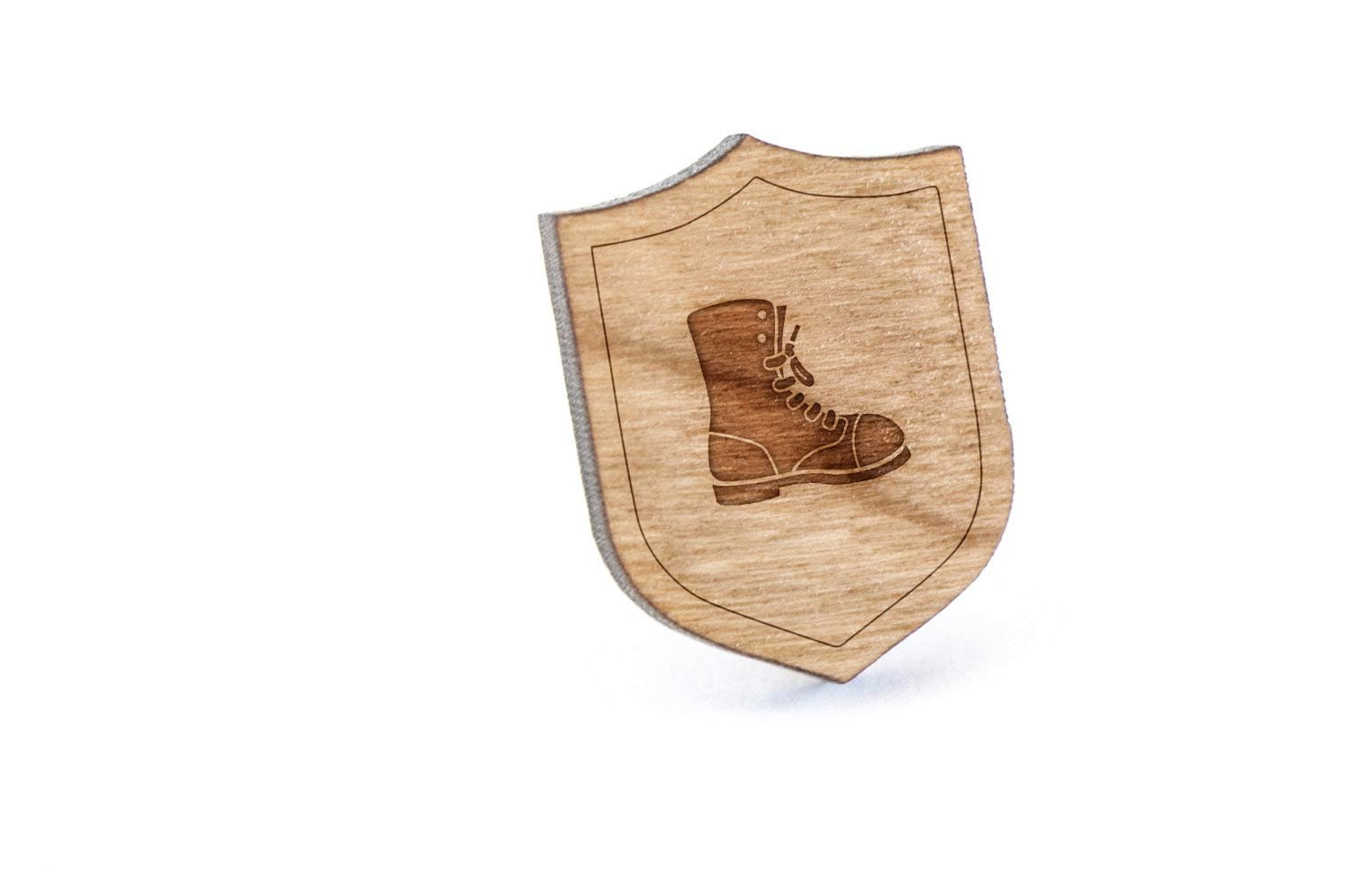 Combat Boot Lapel Pin, Wooden Pin And Tie Tack | Rustic And Minimalistic Groomsmen Gifts And Wedding Accessories