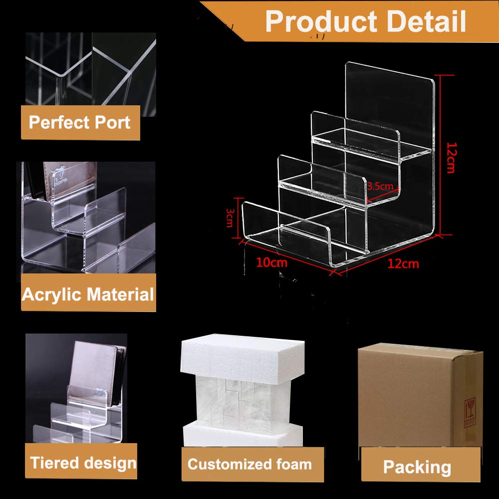 2 Packs Acrylic Display Wallet Display Stand 4 Tier 3 Tier glass wallet purse Acrylic Step Display Organiser Set of 2 Ideal for Bathroom Counter and Kitchen Cabinet