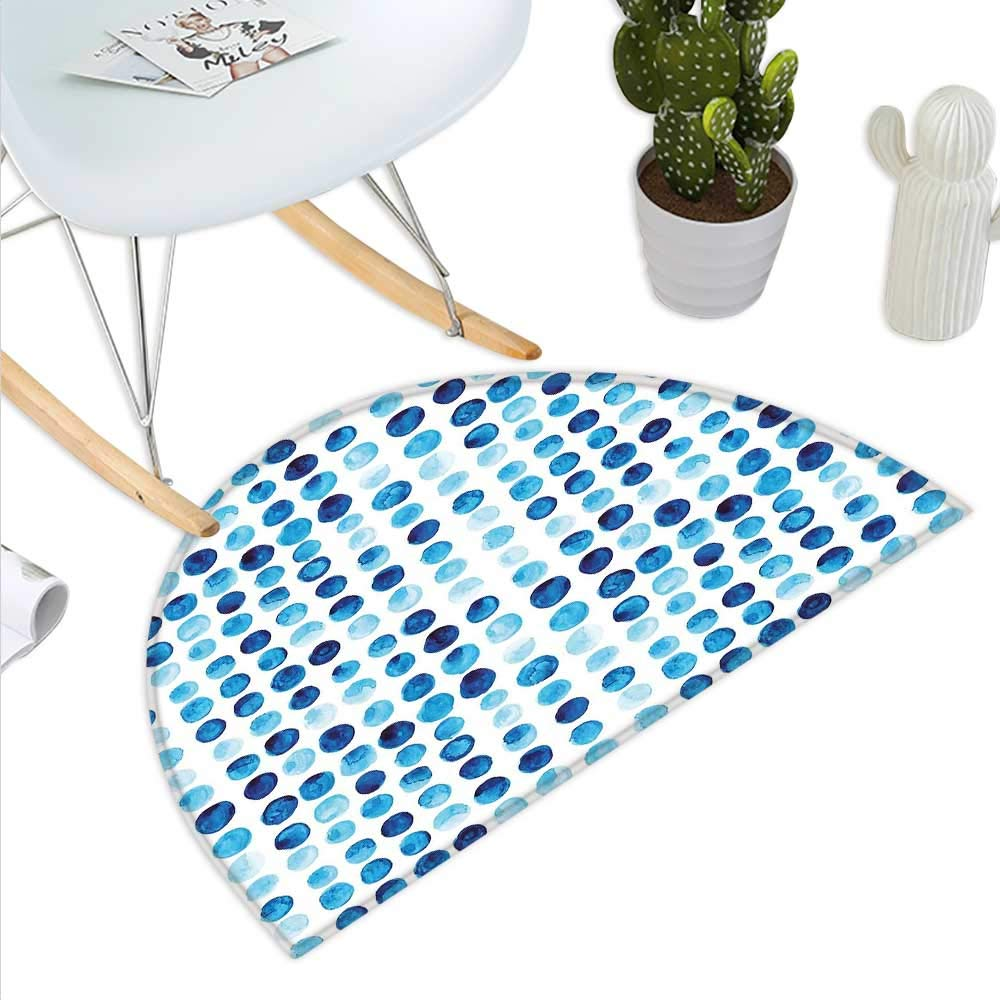 color09 H 39.3  xD 59  bluee Semicircle Doormat Retro Style Vintage Modern Design with Mosaics and Geometrical Squares Halfmoon doormats H 27.5  xD 41.3  Pale bluee White Dark bluee