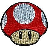 Premier Patches Parche de Seta roja Bordado para Planchar Sobre Insignia, Disfraz de Mario Kart/SNES / Mario World/Super Mario Brothers/Mario All Stars Cosplay