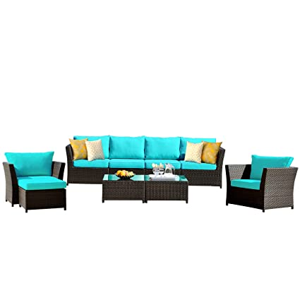 Groovy Ovios Patio Furniture Set Backyard Sofa Outdoor Furniture 9 Pcs Sets Pe Rattan Wicker Sectional With 2 Pillows And Coffee Table No Assembly Home Interior And Landscaping Ponolsignezvosmurscom