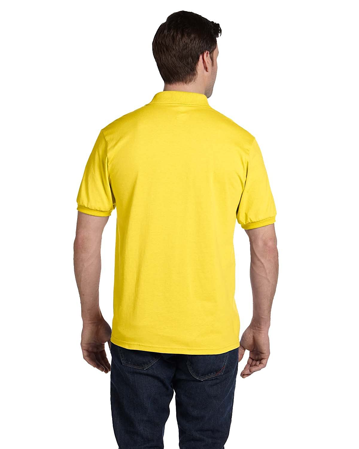 Hanes Cotton-Blend Men`s Jersey Polo Yellow