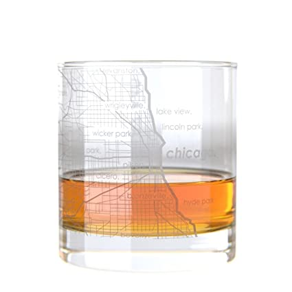 City Map Glasses Amazon.com: Uncommon Green Chicago Map Rocks Etched Whiskey Glass
