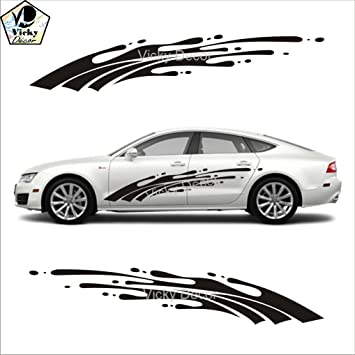 Vicky Decor Car Side Sticker CRS002 Black Full Body Glossy Finish Size 60inch X 12 Inch Fits All Cars 9 Color Available Easy To Apply Vinyl Sports