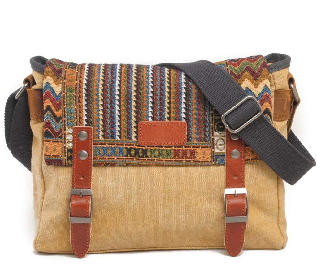 DABUOT Retro-Schultertasche Ethnischen Stil Diagonal Cross-Beutel Lässige Tasche Schultertasche Männer Tasche Handtasche,Khaki