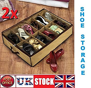 2 X 12 Paar Schuhschachteln Aufbewahrung Unterm Bett Amazon De