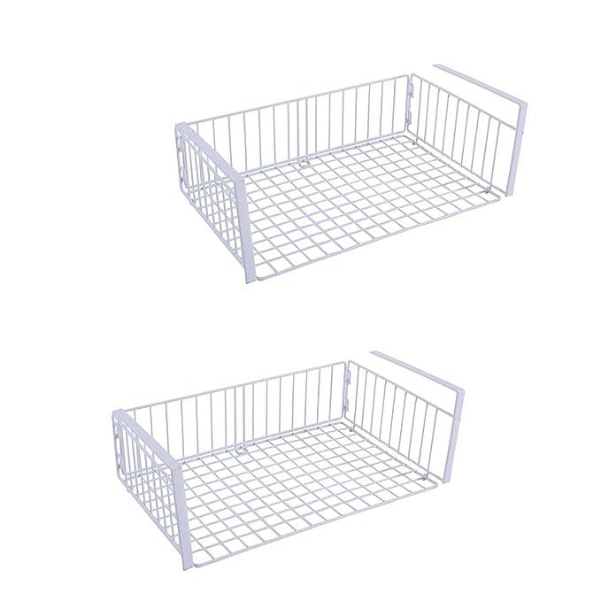 YOMYM - Juego de 2 cesta colgante almacenaje para estantería de cocina escritorio de doma armario cesta de almacenaje metálico con estante: Amazon.es: Hogar