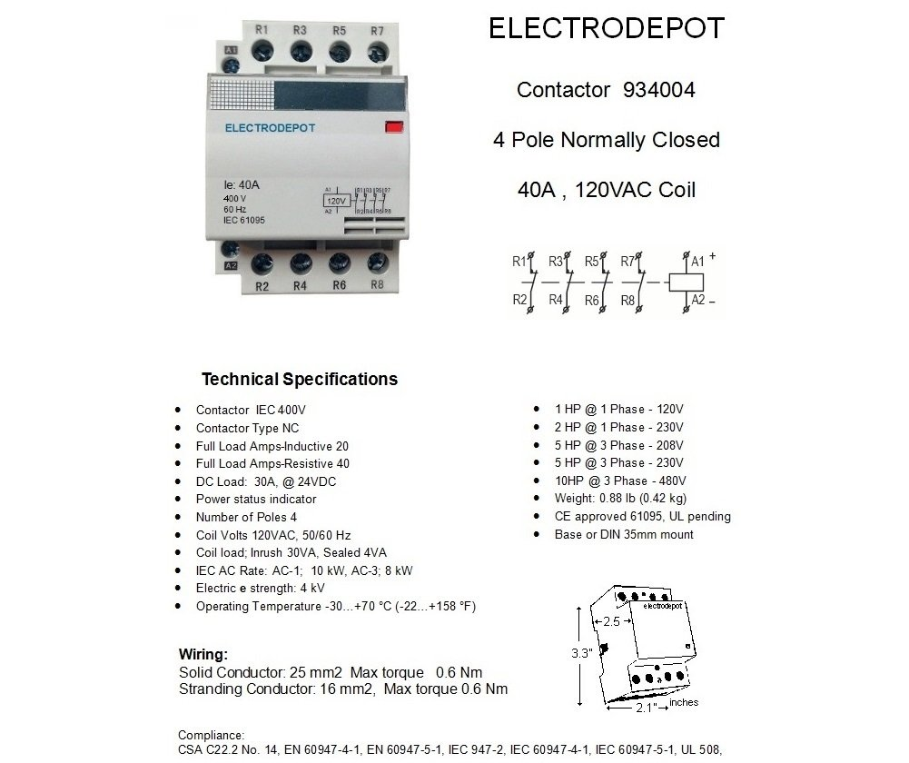 40 Amp 4 Pole NC Normally Closed Lighting Contactor IEC 120V Coil 934004