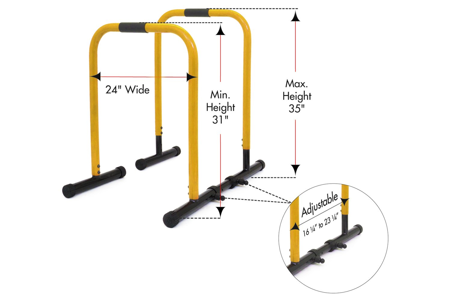ProsourceFit Dip Stand Station, Heavy Duty Ultimate Body Press Bar with Safety Connector for Tricep Dips, Pull-Ups, Push-Ups, L-Sits, Yellow by ProsourceFit (Image #2)