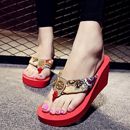 PENGFEI Zapatillas Pantofola con Punta De Clip Verano Hembra Cuña Fondo Grueso Satén Impreso Playa Antideslizante, 2 Colores (Color : Beige, Tamaño : EU34/UK3.5/US5/220) Rojo