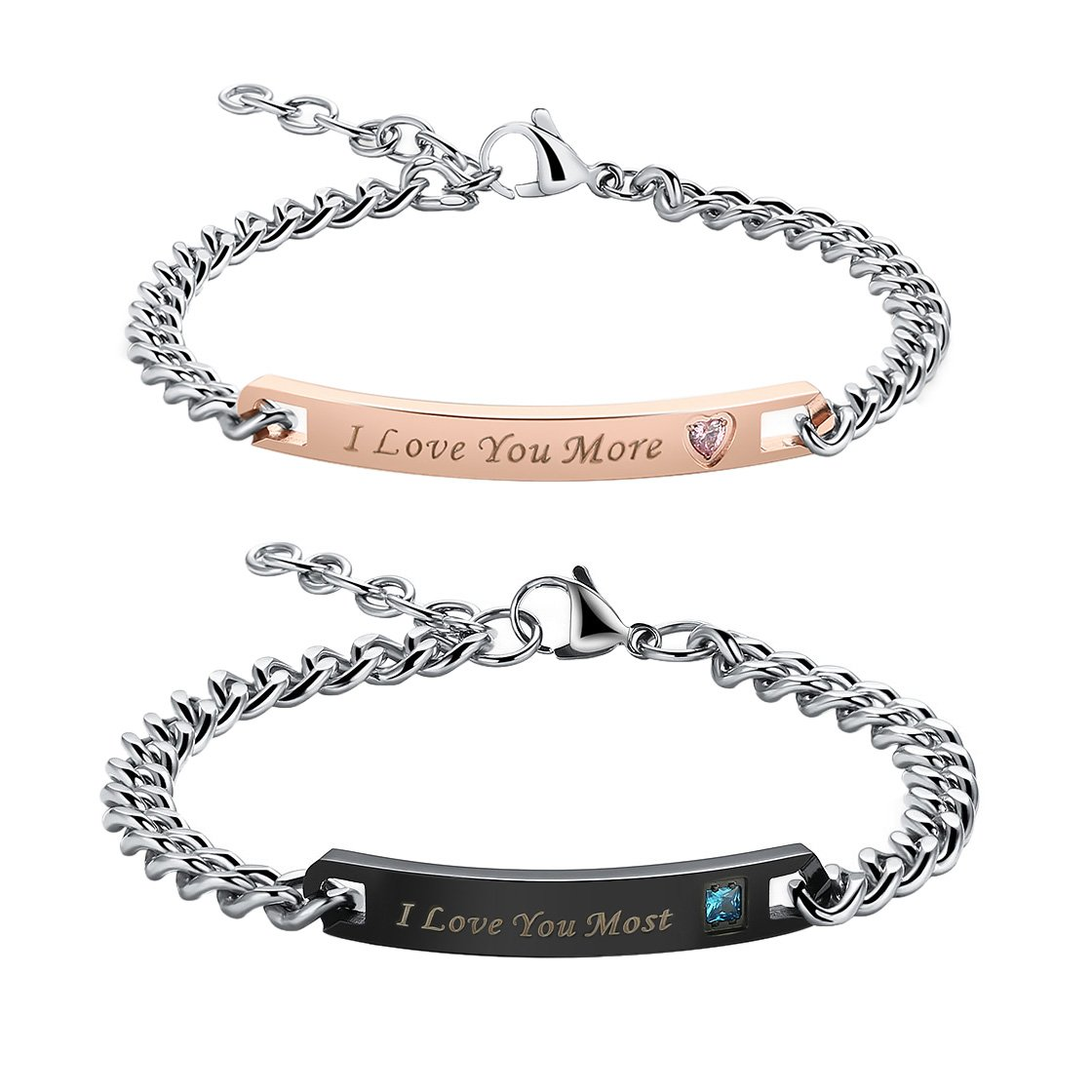 Gagafeel His Hers Couple Bracelet Titanium Stainless Steel Chain Matching Set Anniversary Gift (I Love You More I Love You Most)