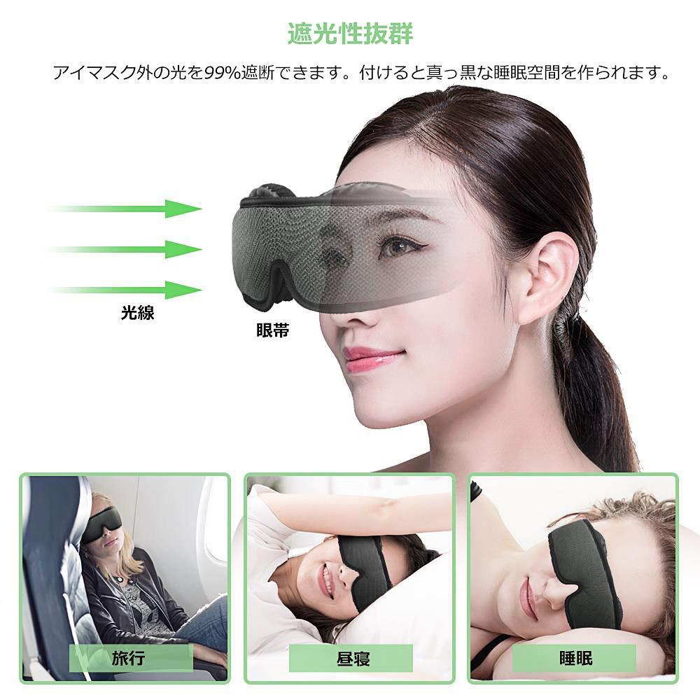 3D立体睡眠アイマスク 圧迫感なし 通気性抜群 遮光 快眠 軽量 安眠 目隠し 旅行 柔らかシルク質感 疲労回復(耳栓,収納袋,二つペアの丸いイヤーカップ)
