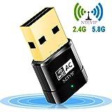 NETVIP WLAN USB Stick, 600Mbps Dual Band 2.4GHz/5GHz WiFi Netzwerk Dongles Mini Wireles AP Adapter WPS 802.11ac/n/g/b für Windows XP/7/8/10/Mac OS/Linux