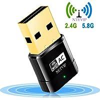 NETVIP WLAN USB Stick, 600Mbps Dual Band 2.4G 150Mbps/5G 433Mbps WiFi Netzwerk Dongles Mini Wireles AP Adapter WPS 802.11ac/n/g/b für Windows XP/7/8/10/Mac OS