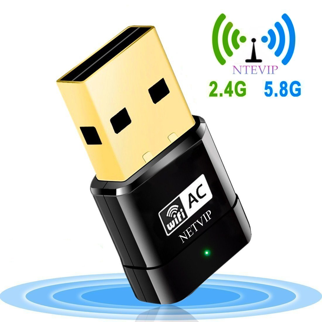 NETVIP Clé WiFi, AC600 WiFi USB Adaptateur, Hotspot Wireless Network Dual Band 5GHz/2.4GHz Mini AP WiFi Dongle Applique à Windows XP/Vista/7/8/10(32/64 Bits)/Linux/Mac OS X