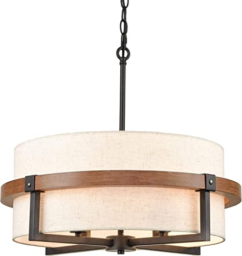 AXILAND Rustic Drum Chandelier 4-Light Dining Room Chandelier
