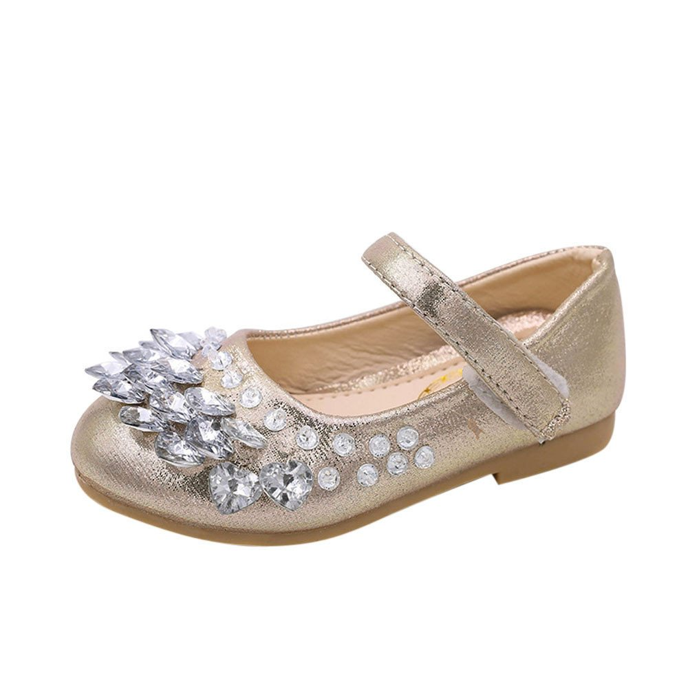 Lurryly Baby Girls Crystal Leather Toddler Infant Party Princess Single Shoes 1-9 T