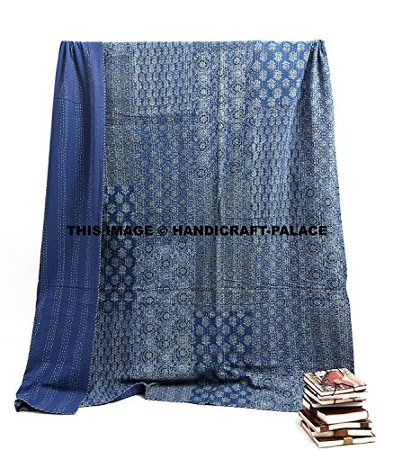 Indian Handmade Patchwork Block Printed Quilt Indigo Blue Queen Size Bedspread Bedding Gypsy Throw By Handicraft-Palace