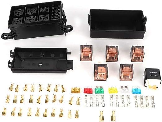 Portafusibles, Caja de Fusibles para Automóvil de 6 Vías con 1pc 4p 12v y 5pcs 100A Relés de Carcasa Transparente Aptos para Barcos Car Racing: Amazon.es: Coche y moto