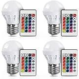 XJLED dernière RGB, E27 3 W AC85-265 V, 150LM geführte Ampoules Multicolores Changer haute luminosité AC85-265 V Projecteur avec un télécommande Lumière décorative Couverts pour enfant(4 PCS)