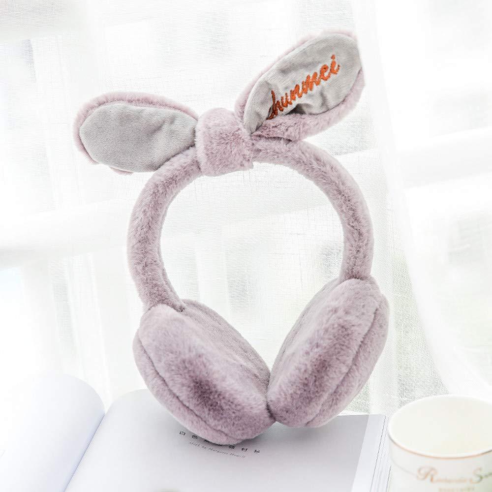 Ankola Ear Warmers in 6 Colors - Women Cute Rabbit Ears Earmuffs Faux Fur Warm Winter Outdoor Earmuffs Black)