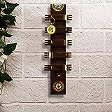 ExclusiveLane 'Warli Wood Wonder' Hand-Painted Key Holder In Teak Wood (5 Hooks) -Key Hook Key Rack Hanger Key Holder Stand For Wall Key Organizer Wall Hanging Wall Mounted Hooks