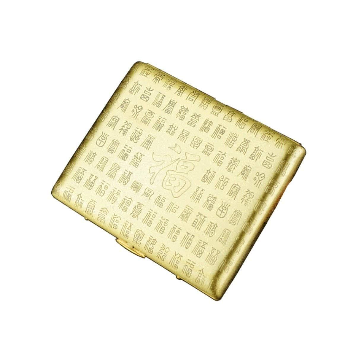 WalledKing Copper Cigarette Case, Vintage Portable Engraving Cigarette Case, 18 Sticks, Smoker Box (Color : Gold)